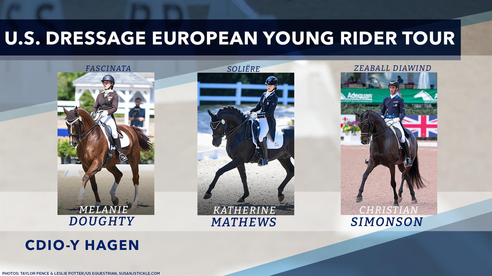Team members for the 2021 US Dressage Young Rider European Tour