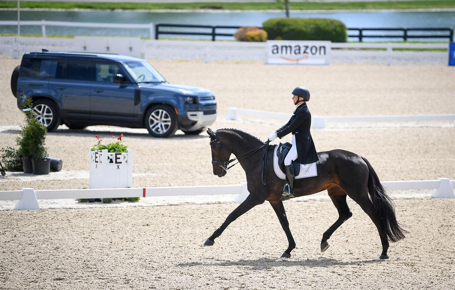 Marilyn Little and RF Scandalous competing in dressage