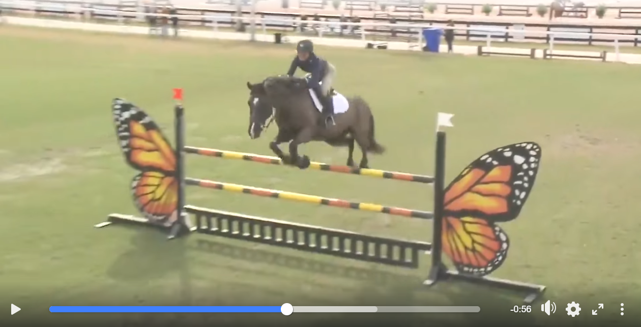 Video still of Mimi Gochman riding a jumper course under the direction of McLain Ward