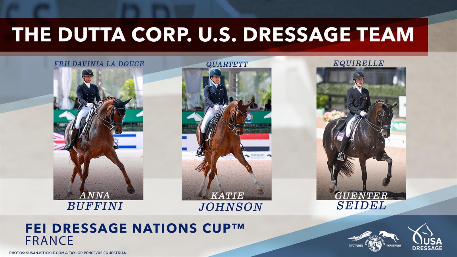 Horse and rider combinations for the 2021 FEI Nations Cup France U.S. Dressage Team