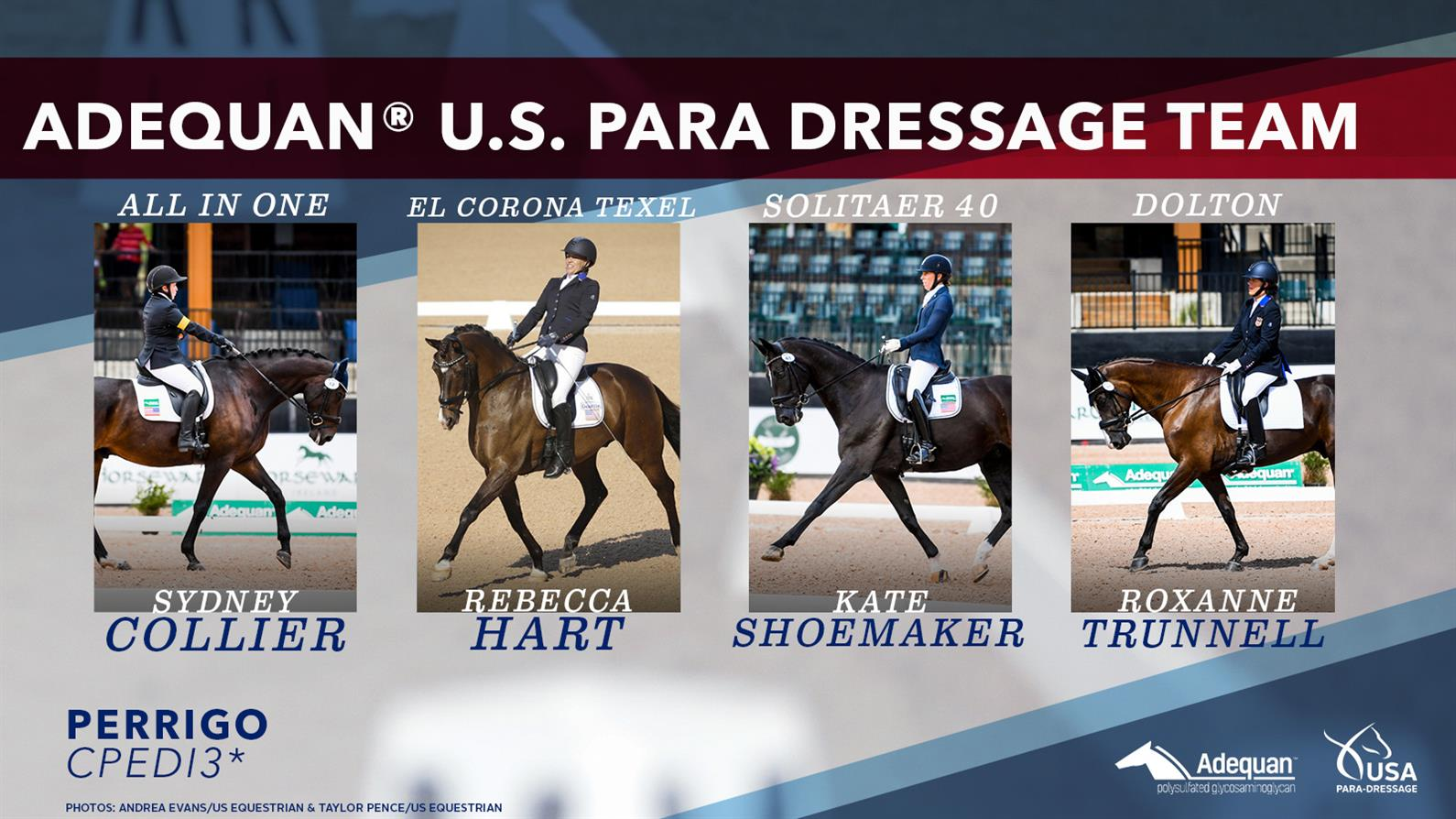 Team roster for the Para Dressage team at 2021 Tryon Summer Dressage CPEDI3*