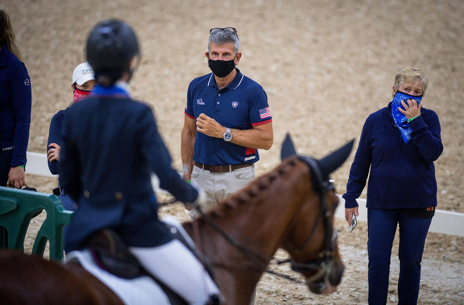 Michel Assouline coaching a rider at the 2020 USEF Para Dressage National Championship