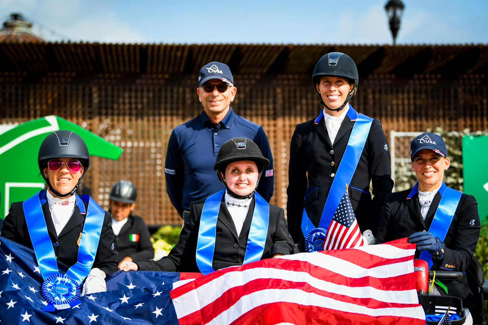 Michel Assouline with Roxanne Trunnell, Sydney Collier, Kate Shoemaker, and Rebecca Hart at the Adequan/USEF Para Dressage National Championship